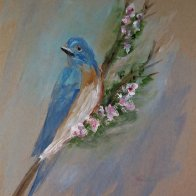 Out of the color of dawn a Bluebird; our heart's to warm.