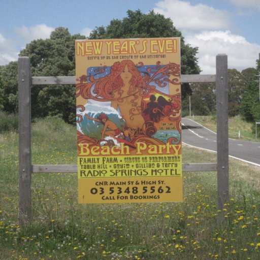 Road Sign -- BEACH PARTY in Lyonville, Includes Table Hill