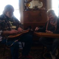 Jim and Micheline playing in the front room