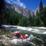 riverboarding in Yosemite